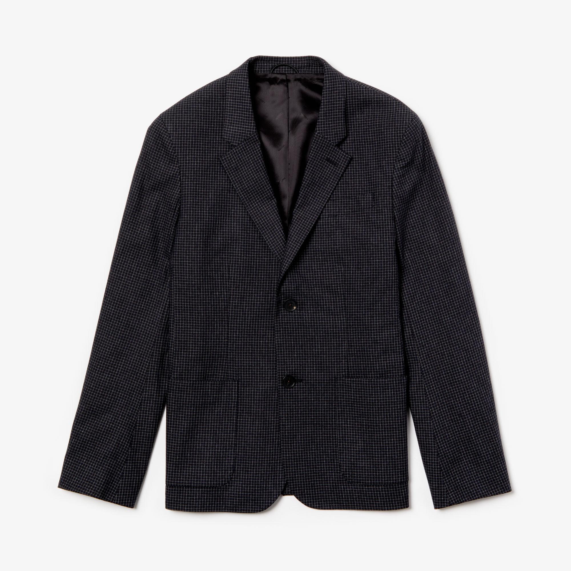 Lacoste Erkek Siyah Ekoseli Slim Fit Uzun Kollu Blazer Ceket