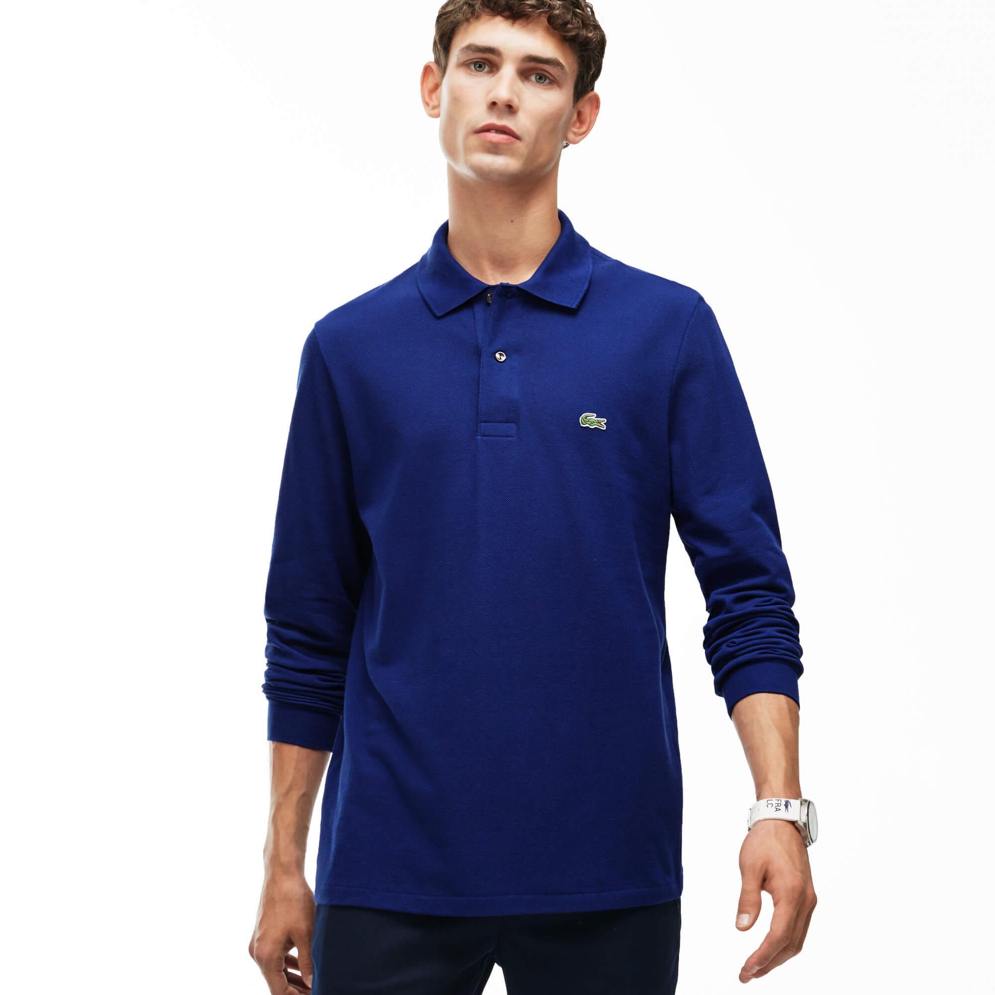 Lacoste Erkek Klasik Fit L1212 Uzun Kollu Mavi Polo