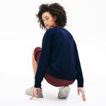 Lacoste Croco Magic Kadın Croco Magic Desenli Bisiklet Yaka Lacivert Sweatshirt