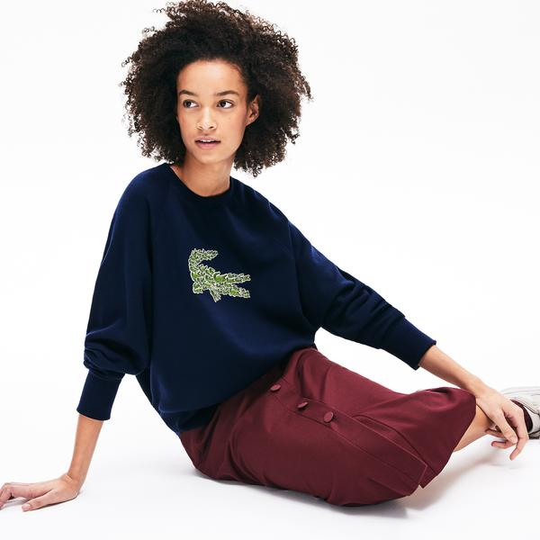 Lacoste Croco Magic Kadın Croco Magic Desenli Bisiklet Yaka Lacivert Sweatshirt