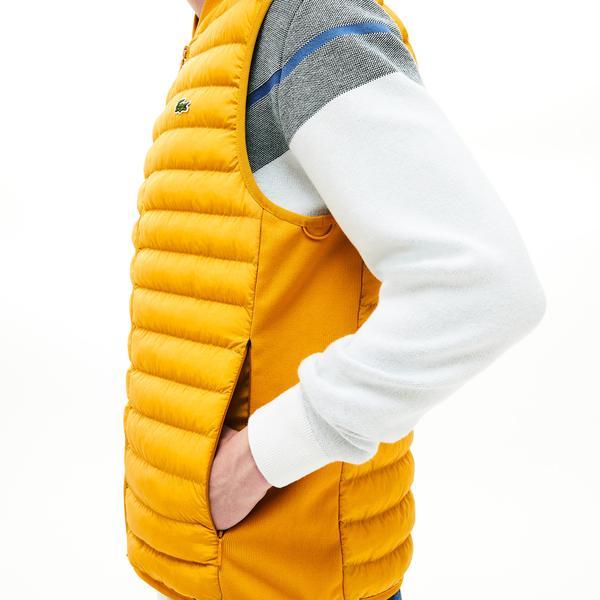 Lacoste Erkek Sarı Kombinlenebilen Kapitone Yelek / Mont