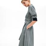 Lacoste Kadın Regular Fit Ekose Desenli Truvakar Kollu Gri Elbise