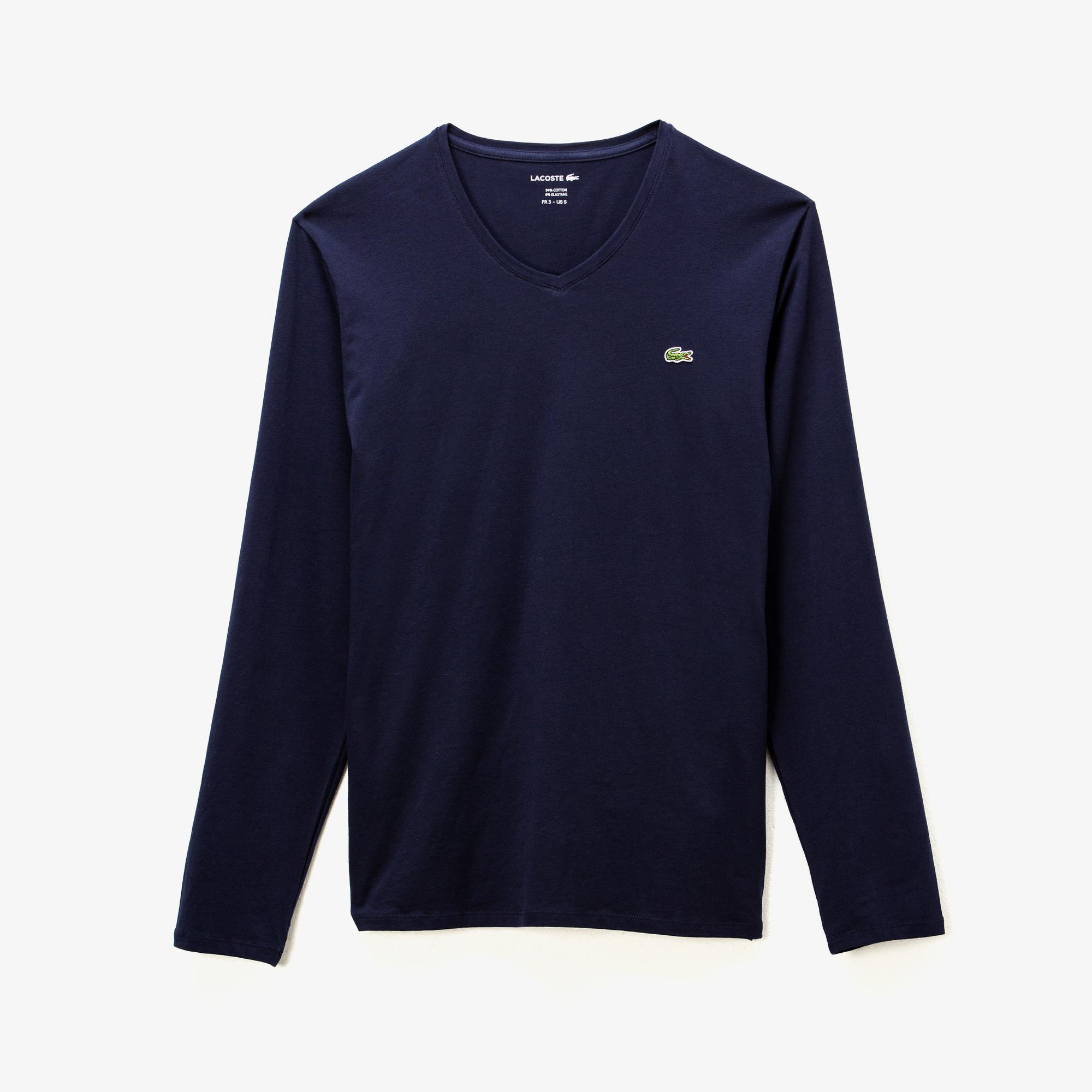 Lacoste Erkek V Yaka Uzun Kollu Lacivert T-Shirt
