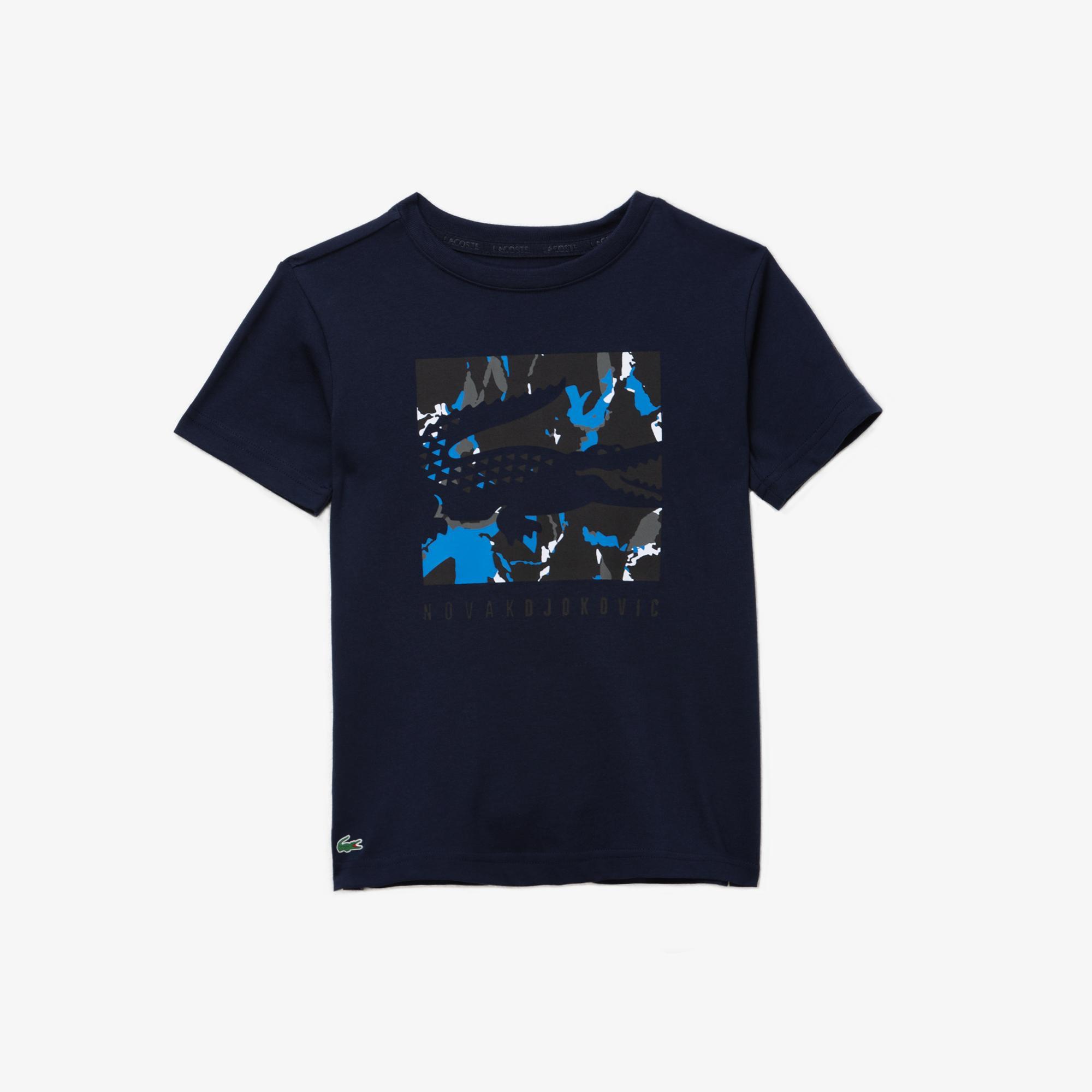 Lacoste Novak Djokovic Çocuk Lacivert Baskılı Desenli T-Shirt