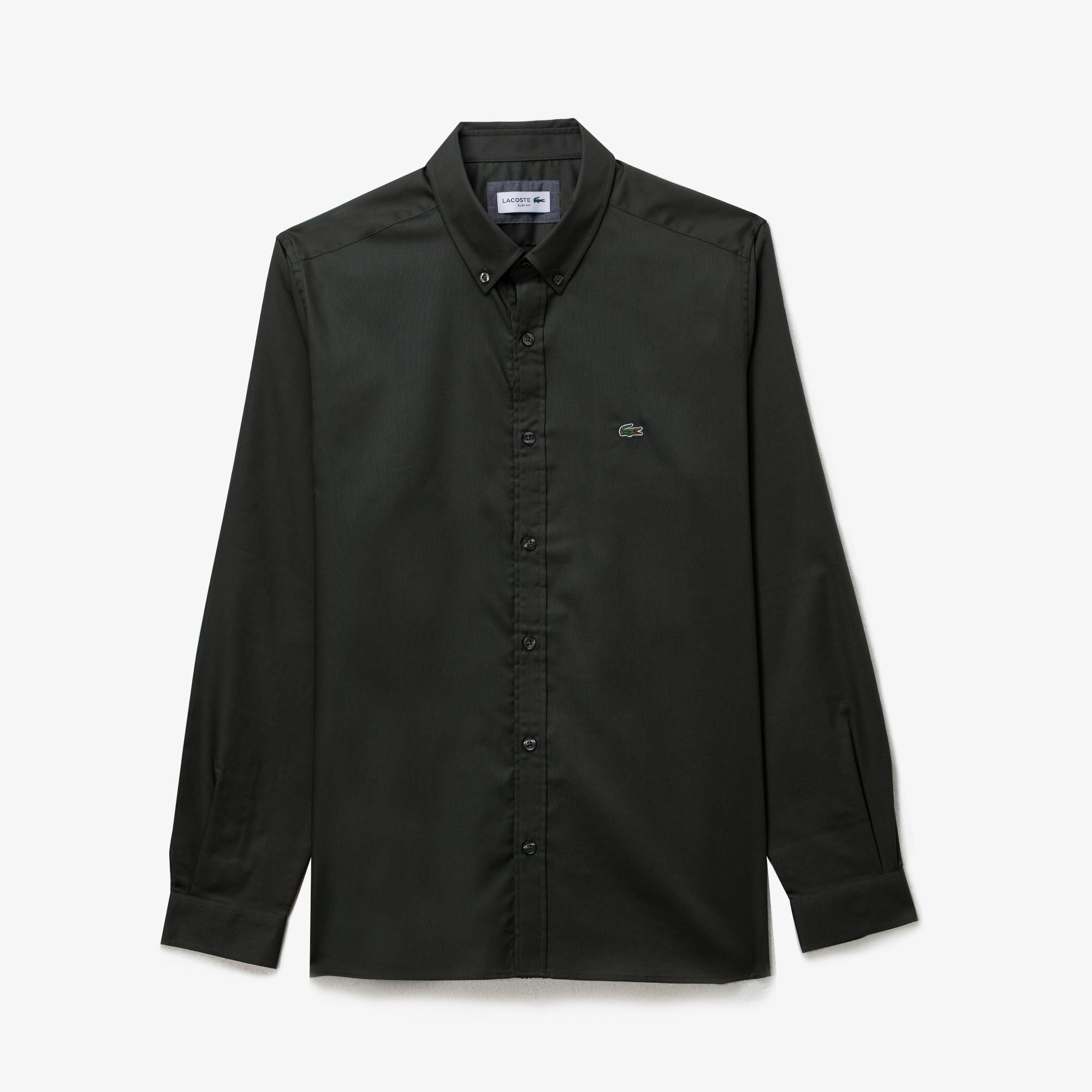 Lacoste Erkek Slim Fit Yeşil Oxford Gömlek