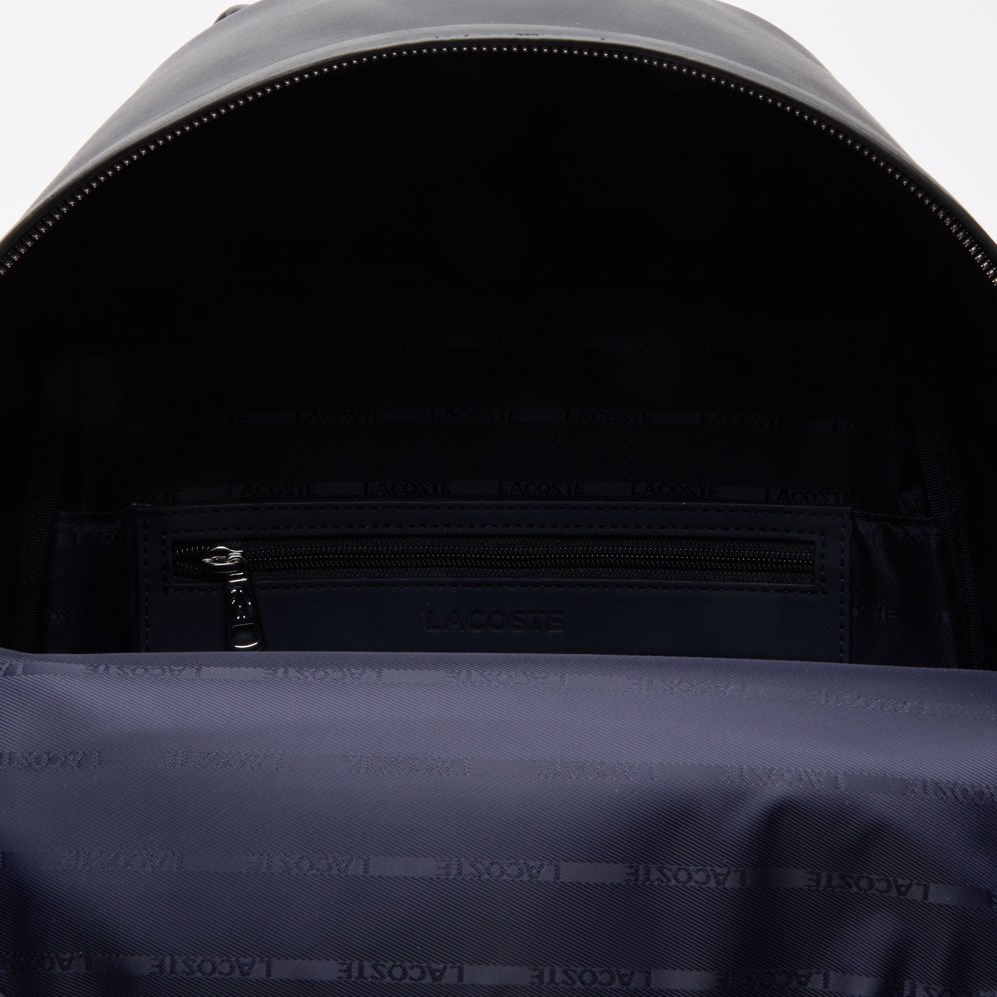 Lacoste L.12.12 Cuir Deri Timsah Baskılı Siyah Sırt Çantası