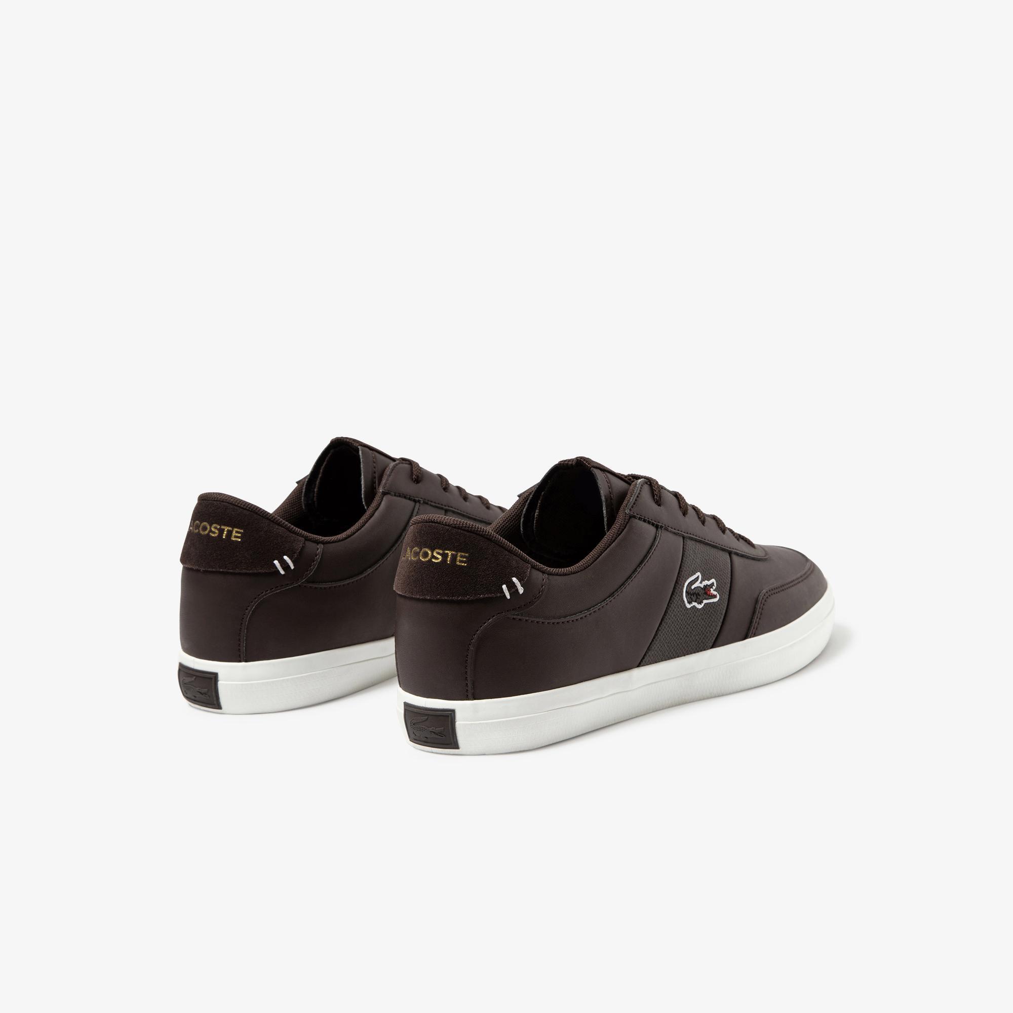 Lacoste Court-Master 120 2 Cma Erkek Koyu Kahverengi - Beyaz Deri Casual Ayakkabı