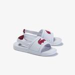 Lacoste L.30 Slide 120 1 Cui Çocuk Timsah Baskılı Beyaz - Koyu Pembe Sandalet