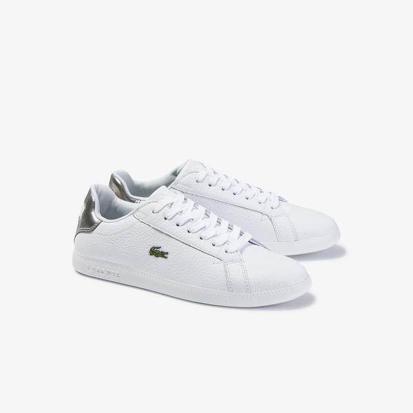 Lacoste Graduate 120 1 Sfa Kadın Beyaz - Gri Deri Sneaker