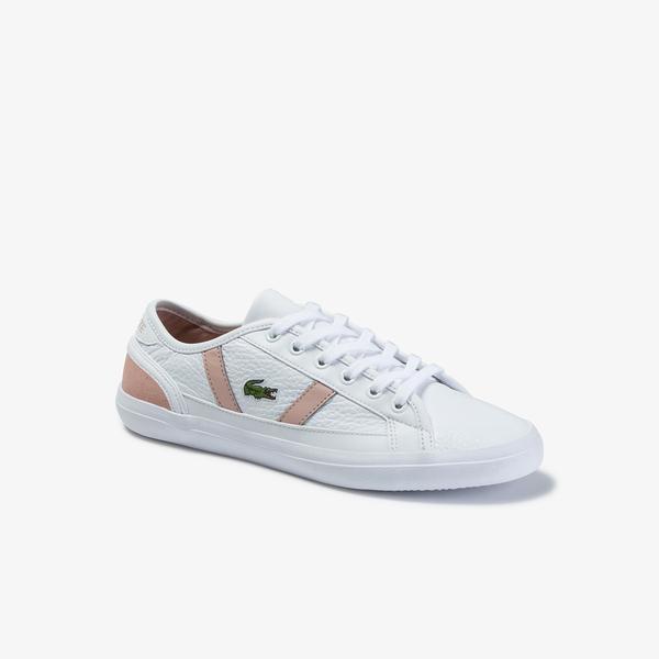Lacoste Sideline 120 4 Cfa Kadın Beyaz - Pudra Deri Sneaker