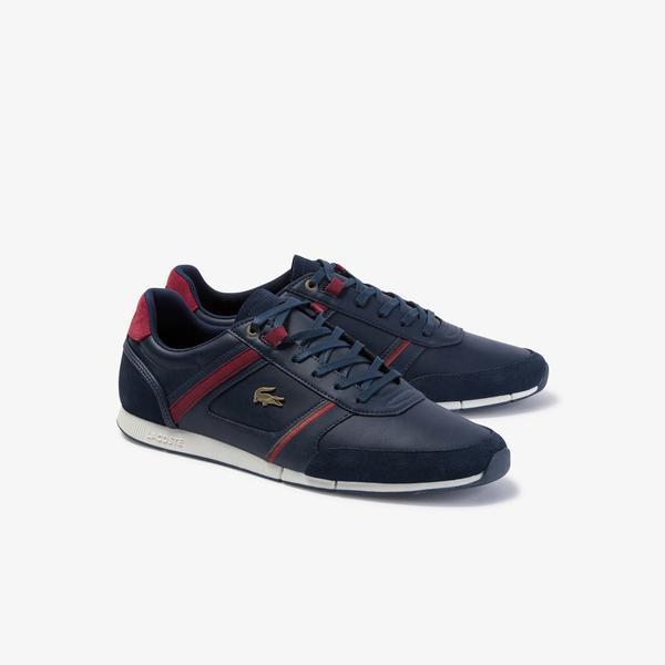 Lacoste Menerva 120 1 Cma Erkek Lacivert - Koyu Kırmızı Deri Casual Ayakkabı