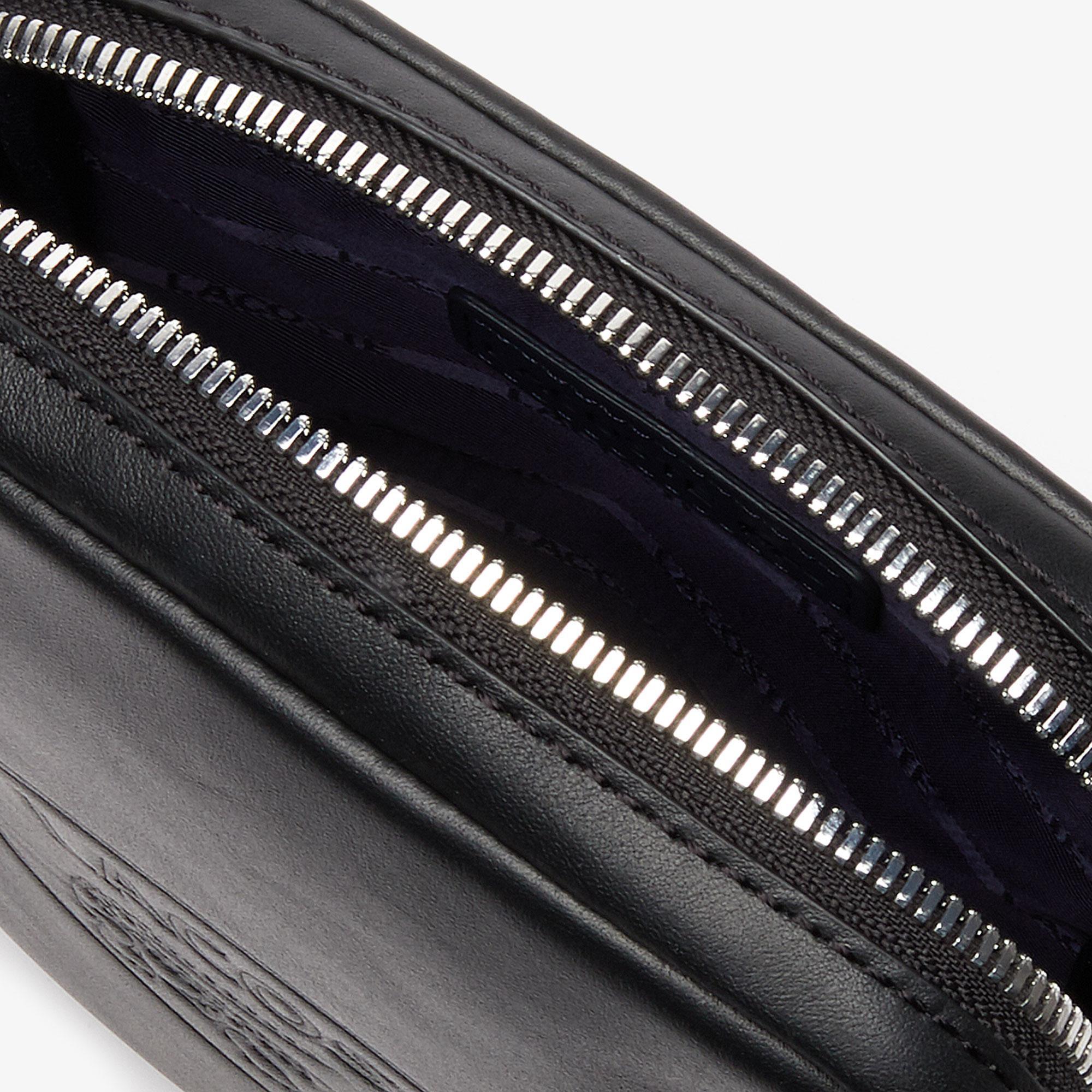 Lacoste L.12.12 Cuir Deri Timsah Baskılı Siyah Kamera Çantası