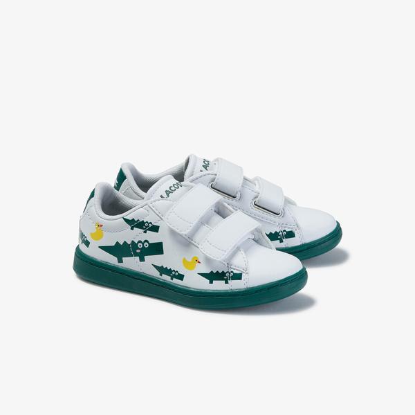 Lacoste Carnaby Evo 120 3 Sui Çocuk Beyaz - Yeşil Baskılı Sneaker