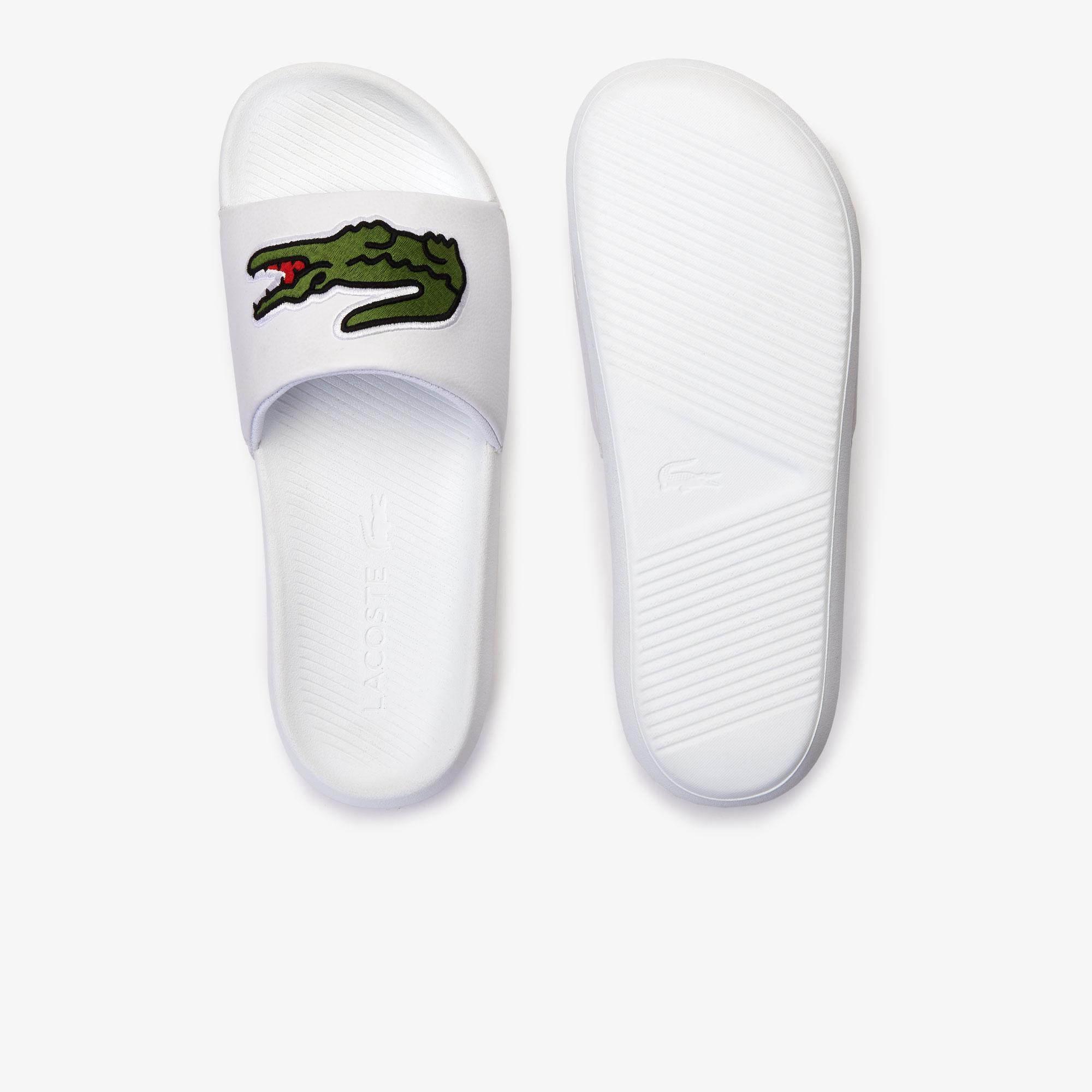 Lacoste Croco Slide 319 4 Us Cma Erkek Beyaz - Yeşil Terlik