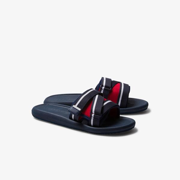 Lacoste Croco Slide Utility 220 1 Cma Erkek Lacivert - Kırmızı - Beyaz Terlik