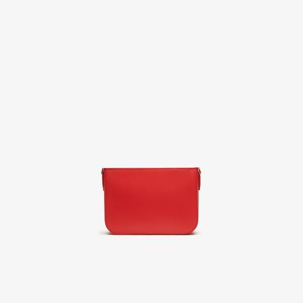 Lacoste Chantaco Deri Kırmızı - Açık Gri Çapraz Çanta