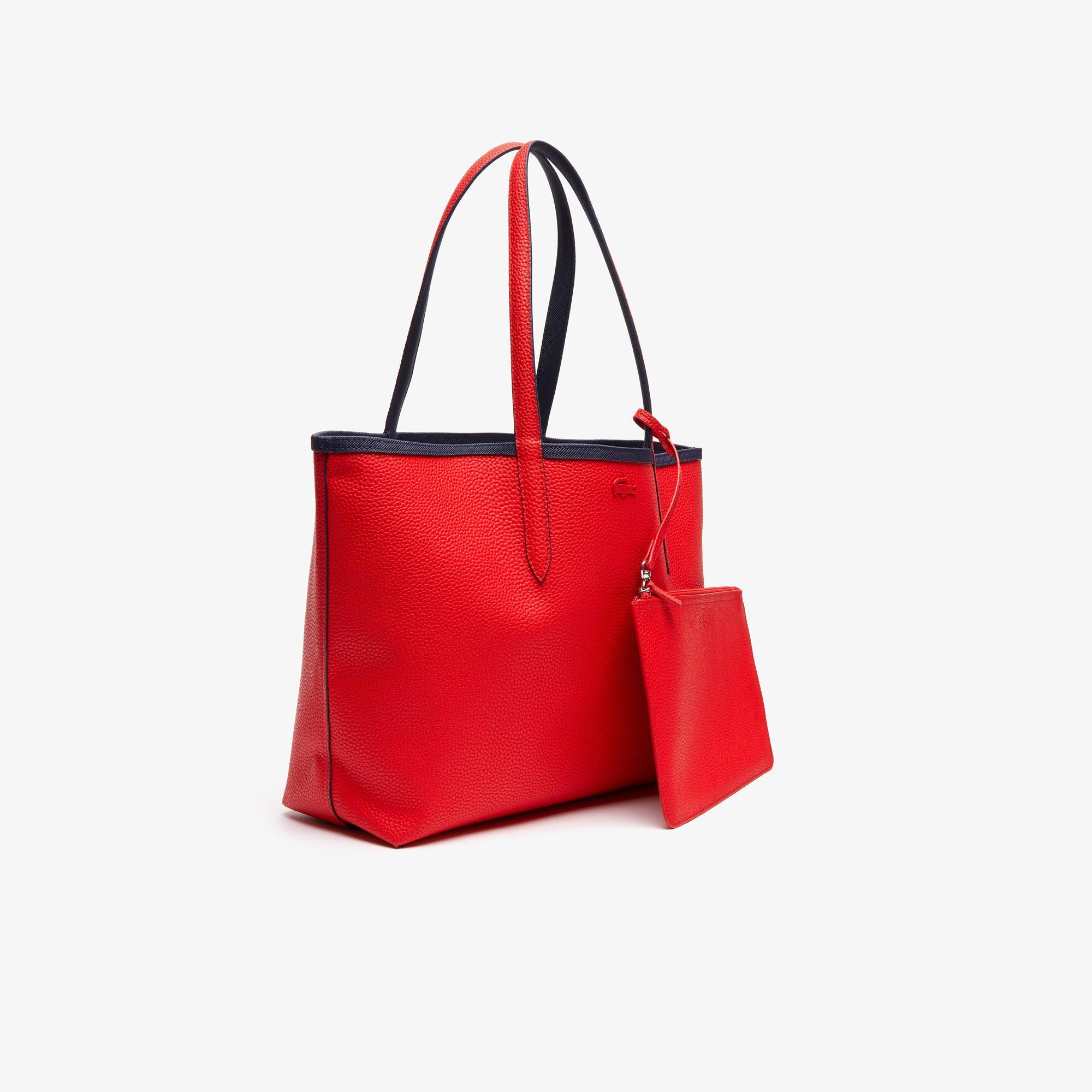 Lacoste Kadın Lacivert-Kırmızı Çift Taraflı Çanta