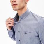 Lacoste Erkek Slim Fit Düğmeli Yaka Lacivert Gömlek