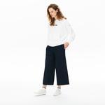 Lacoste Kadın Kapüşonlu Baskılı Beyaz Sweatshirt