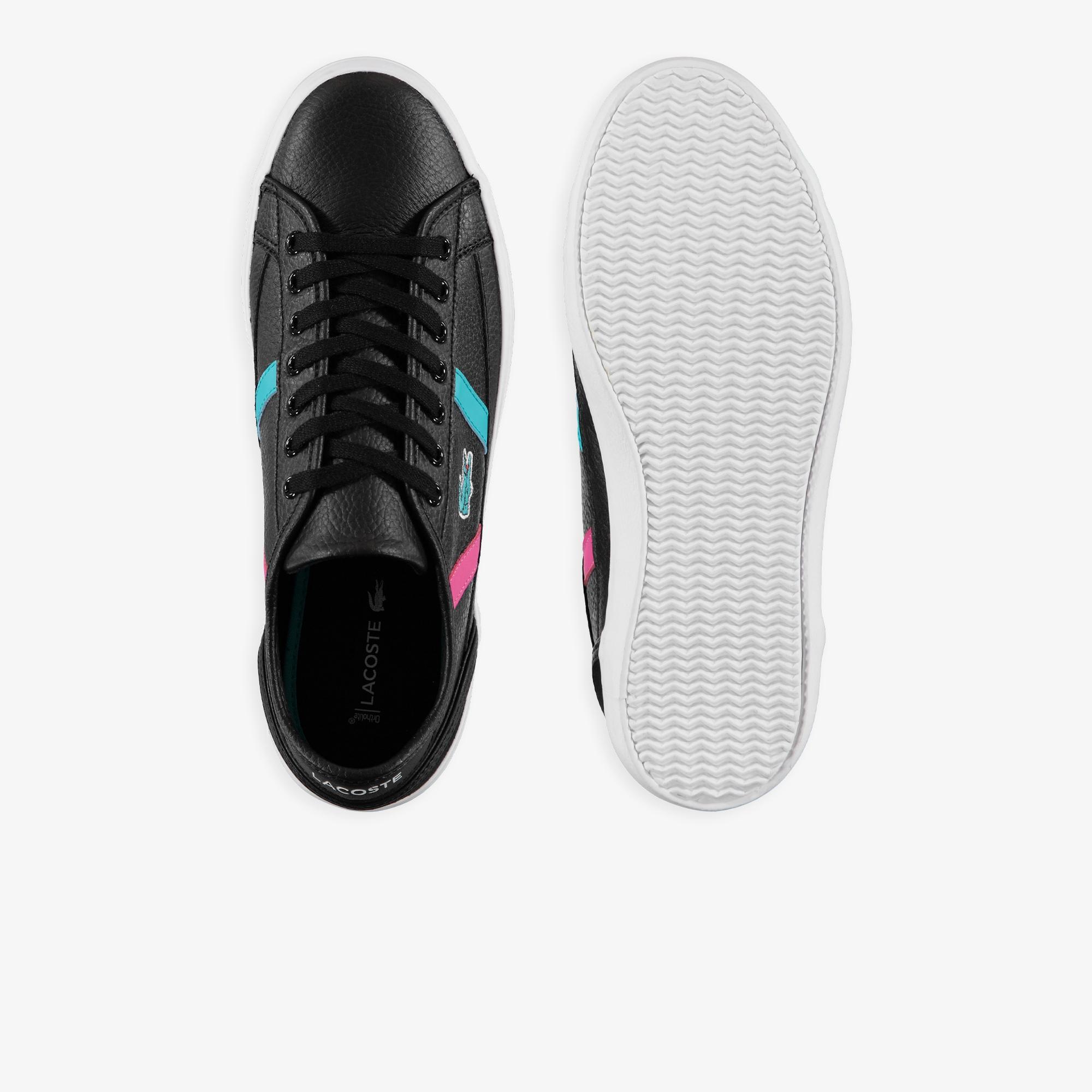 Lacoste Sideline 419 2 Qsp Cma Erkek Siyah Renkli Çizgili Casual Ayakkabı