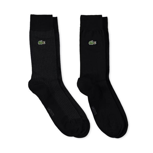 Lacoste Unisex Desenli Siyah Çorap