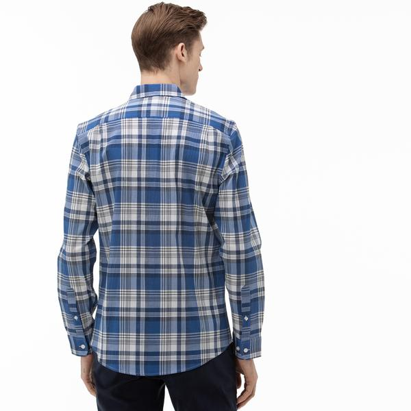 Lacoste Erkek Slim Fit Düğmeli Yaka Ekose Desenli Saks Mavi Gömlek