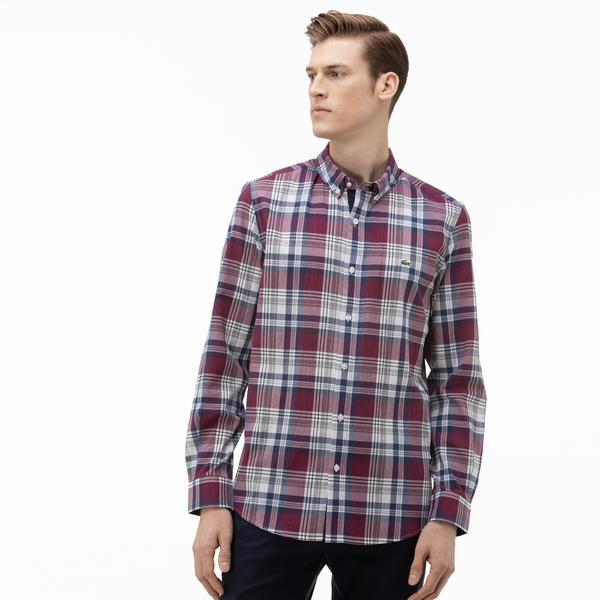 Lacoste Erkek Slim Fit Düğmeli Yaka Ekose Desenli Bordo Gömlek