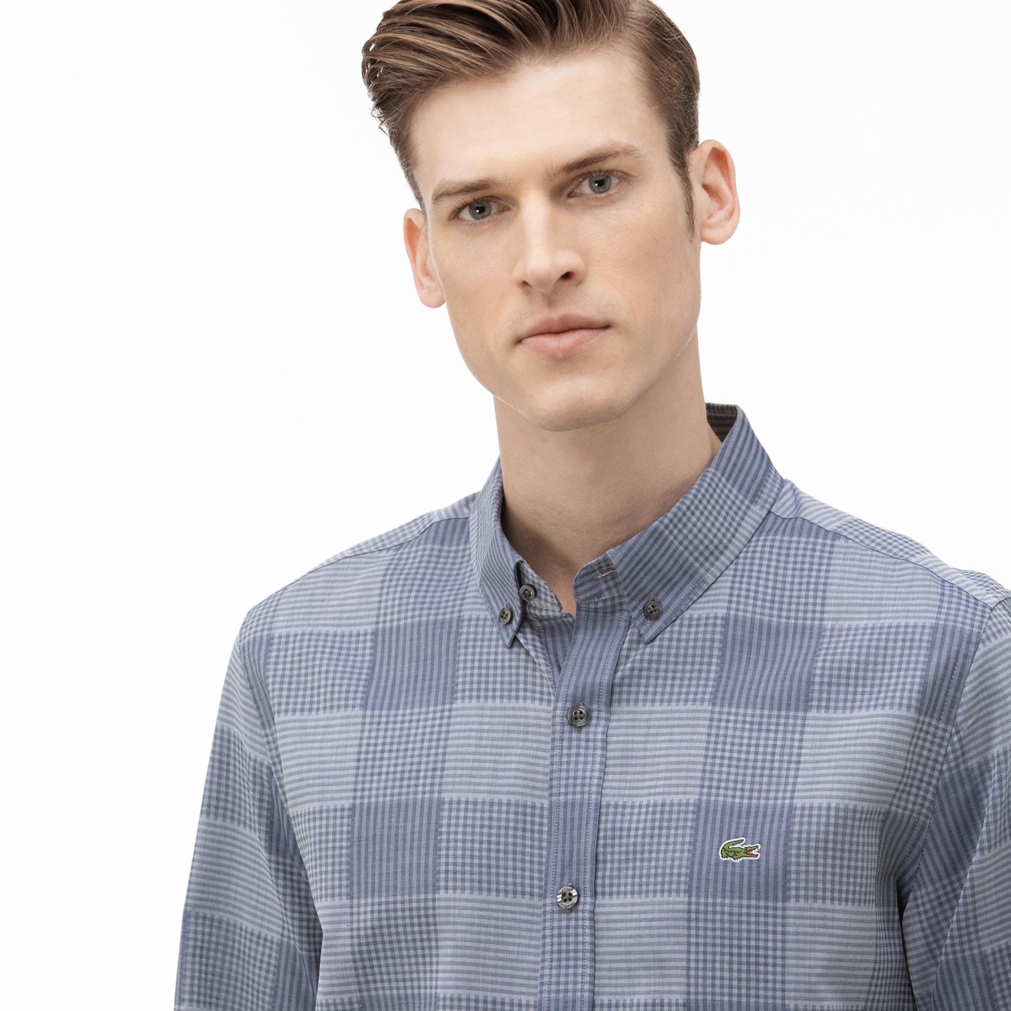 Lacoste Erkek Slim Fit Düğmeli Yaka Ekose Desenli Mavi Gömlek