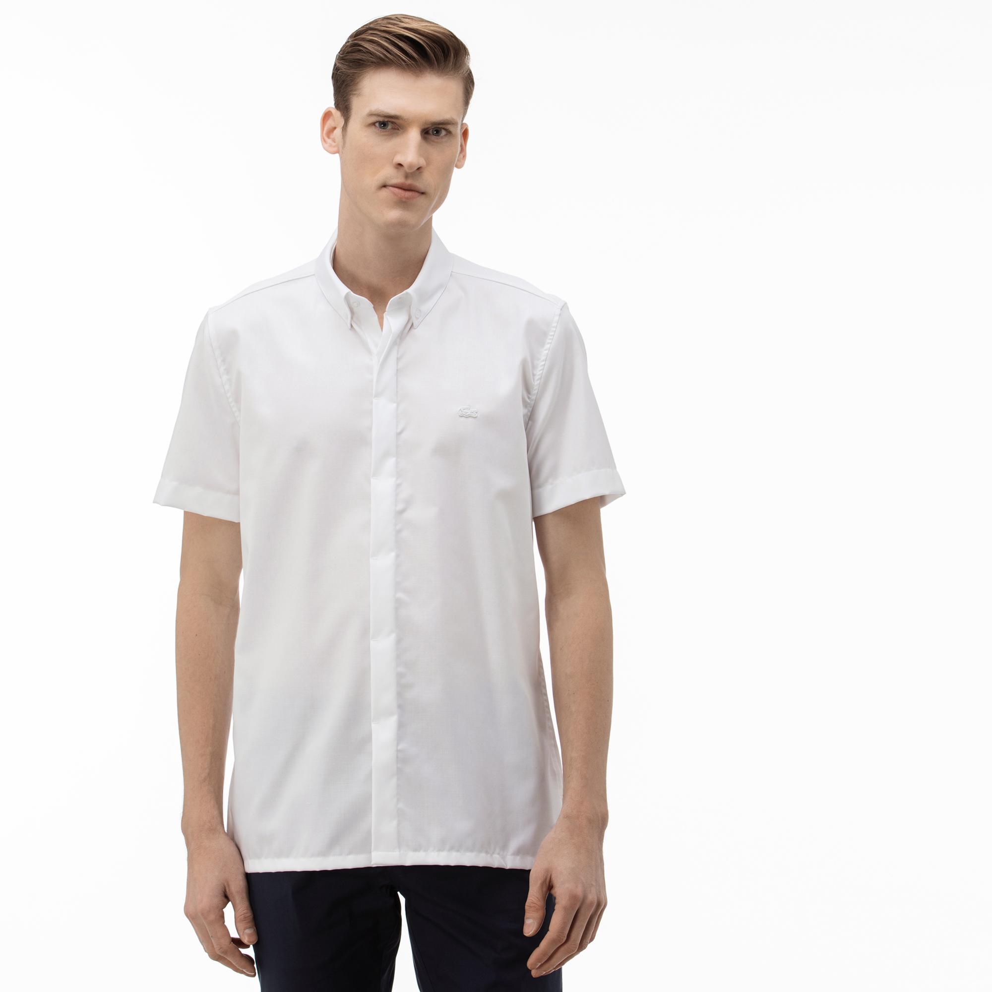 Lacoste Erkek Slim Fit Kısa Kollu Beyaz Gömlek