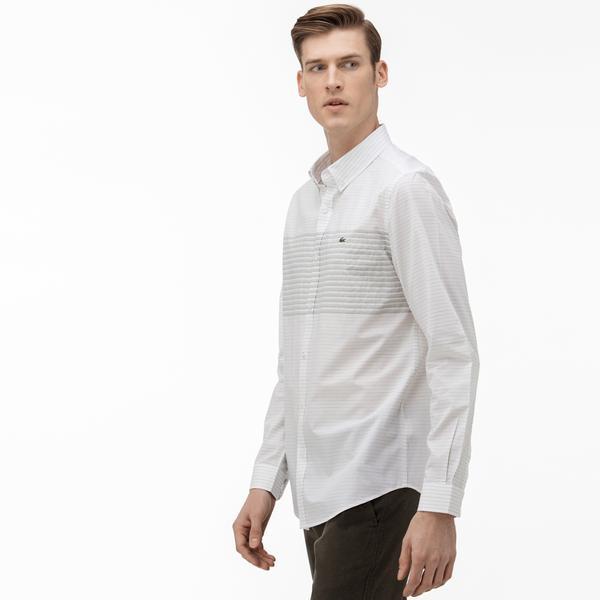Lacoste Erkek Regular Fit Düğmeli Yaka Çizgili Beyaz Gömlek