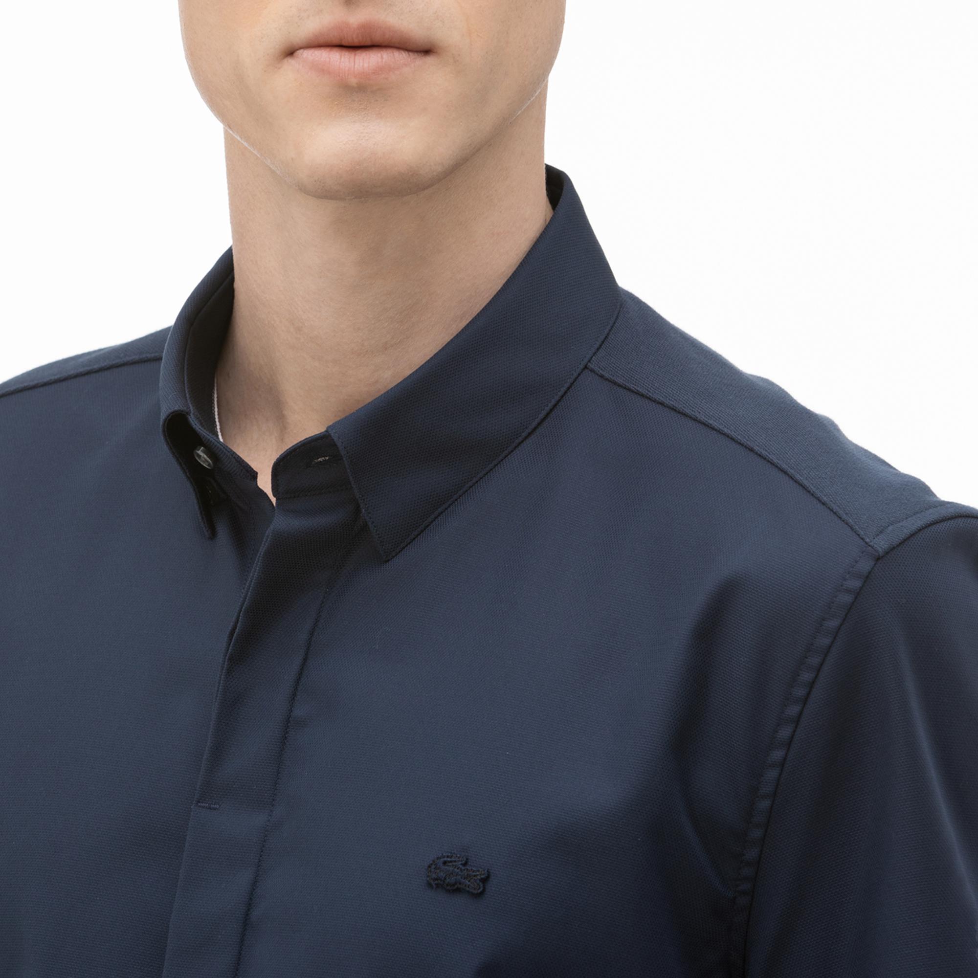 Lacoste Erkek Slim Fit Kısa Kollu Lacivert Gömlek
