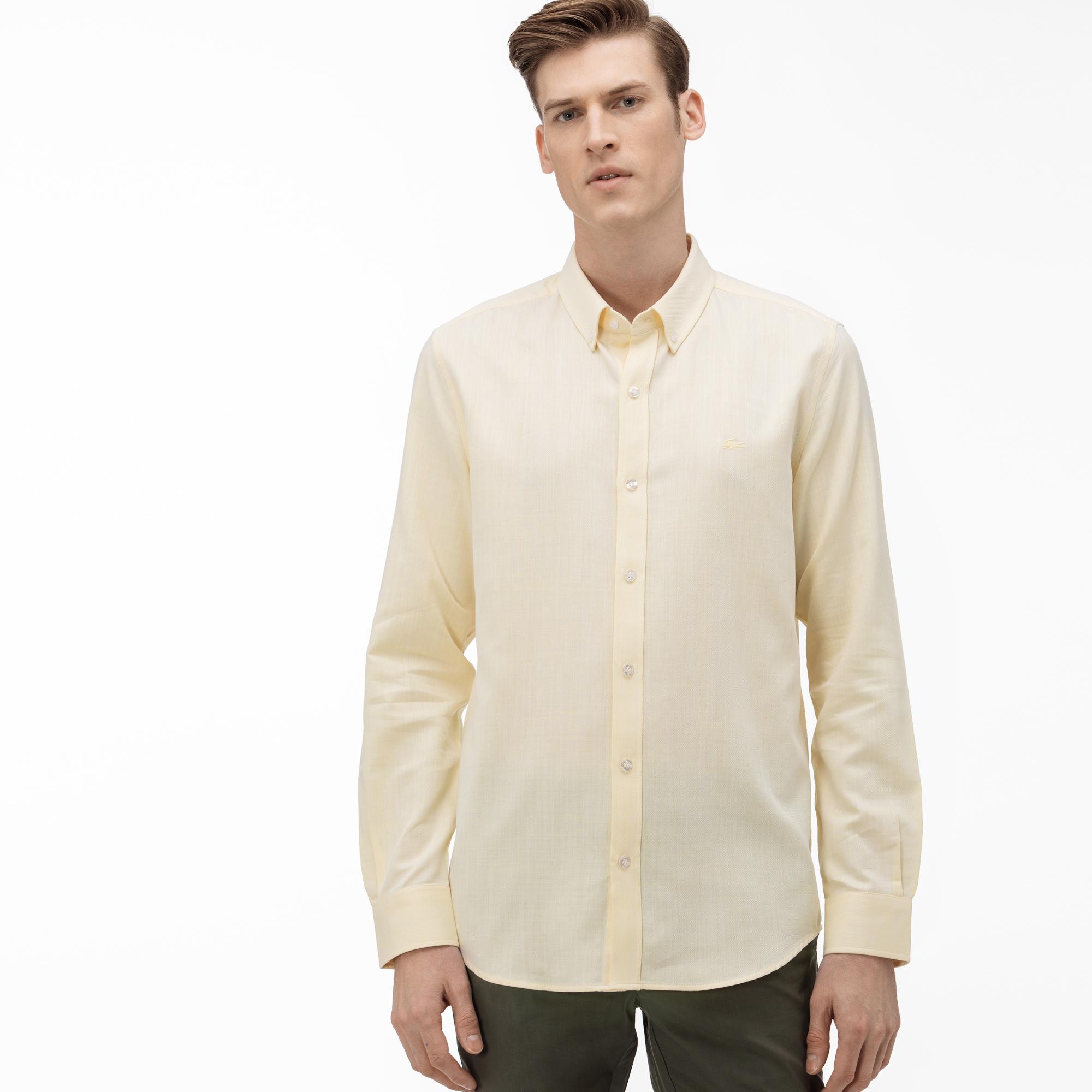 Lacoste Erkek Slim Fit Düğmeli Yaka Açık Sarı Gömlek