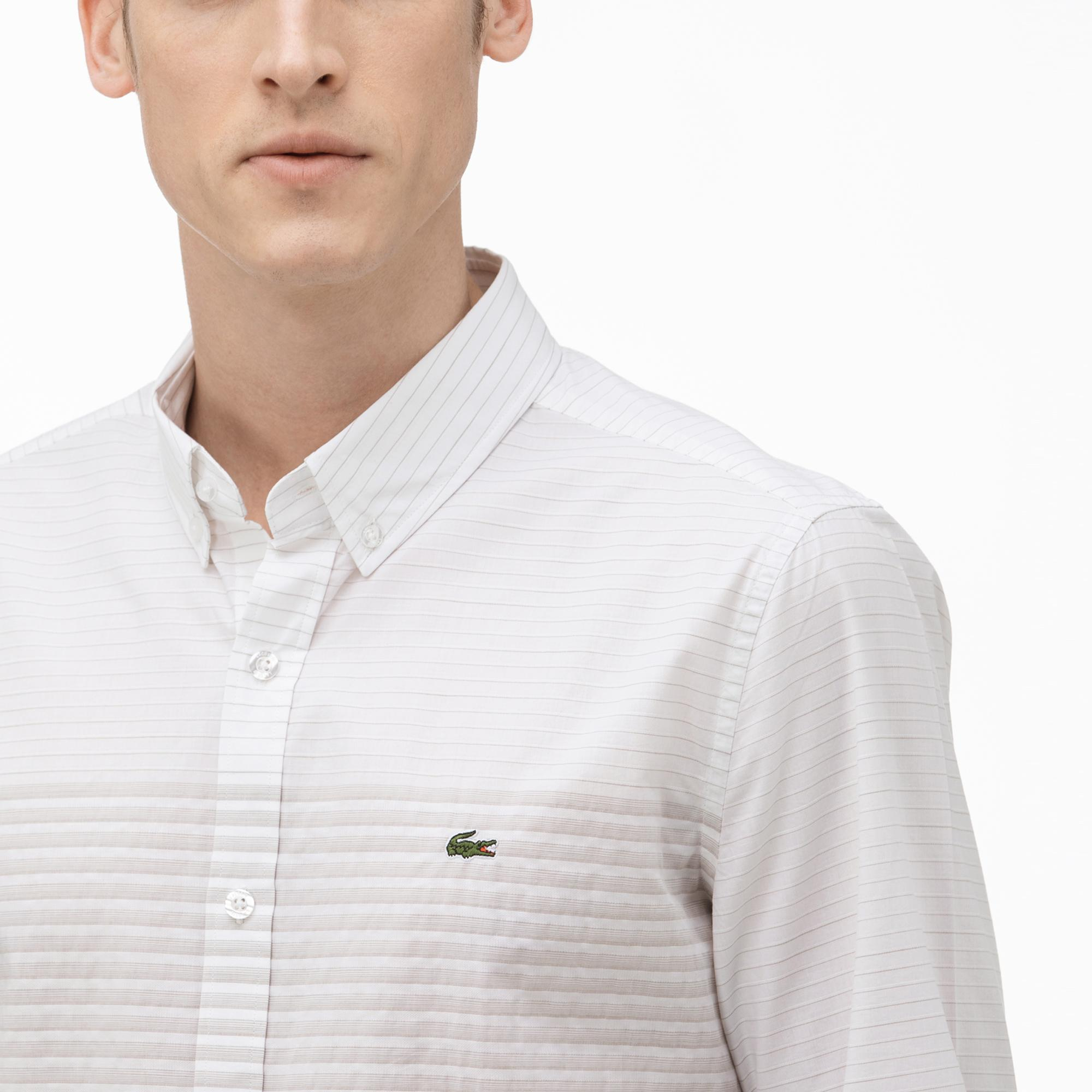 Lacoste Erkek Slim Fit Düğmeli Yaka Açık Kahverengi Gömlek