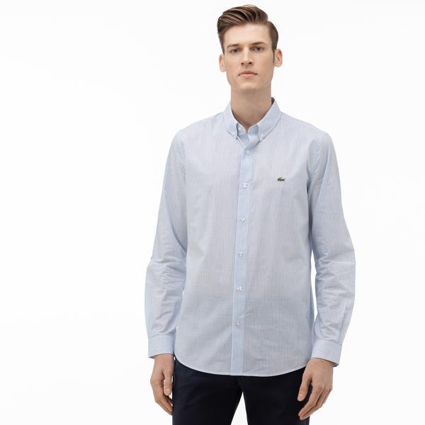 Lacoste Erkek Slim Fit Düğmeli Yaka Çizgili Açık Mavi Gömlek