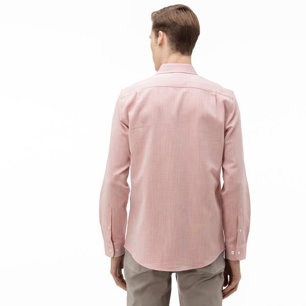 Lacoste Erkek Slim Fit Düğmeli Yaka Açık Pembe Gömlek