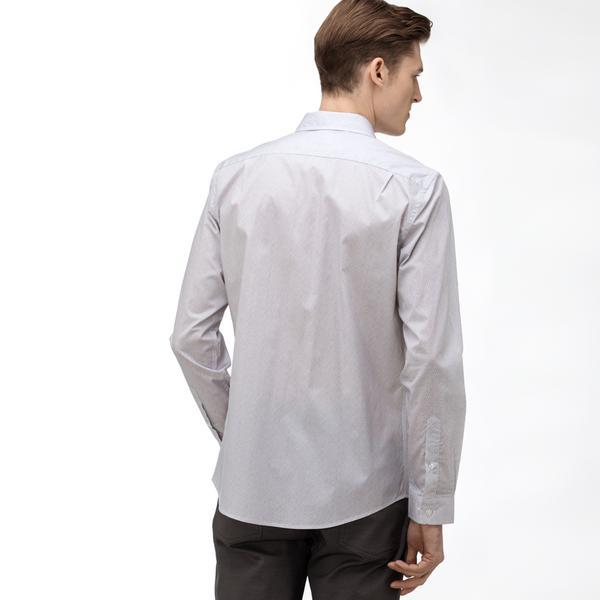 Lacoste Erkek Slim Fit Düğmeli Yaka Baskılı Gri Gömlek
