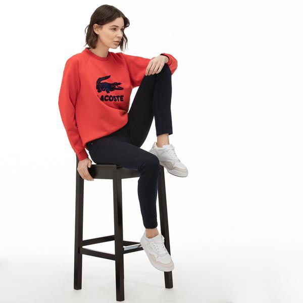 Lacoste Motion Kadın Bisiklet Yaka Baskılı Kırmızı Sweatshirt