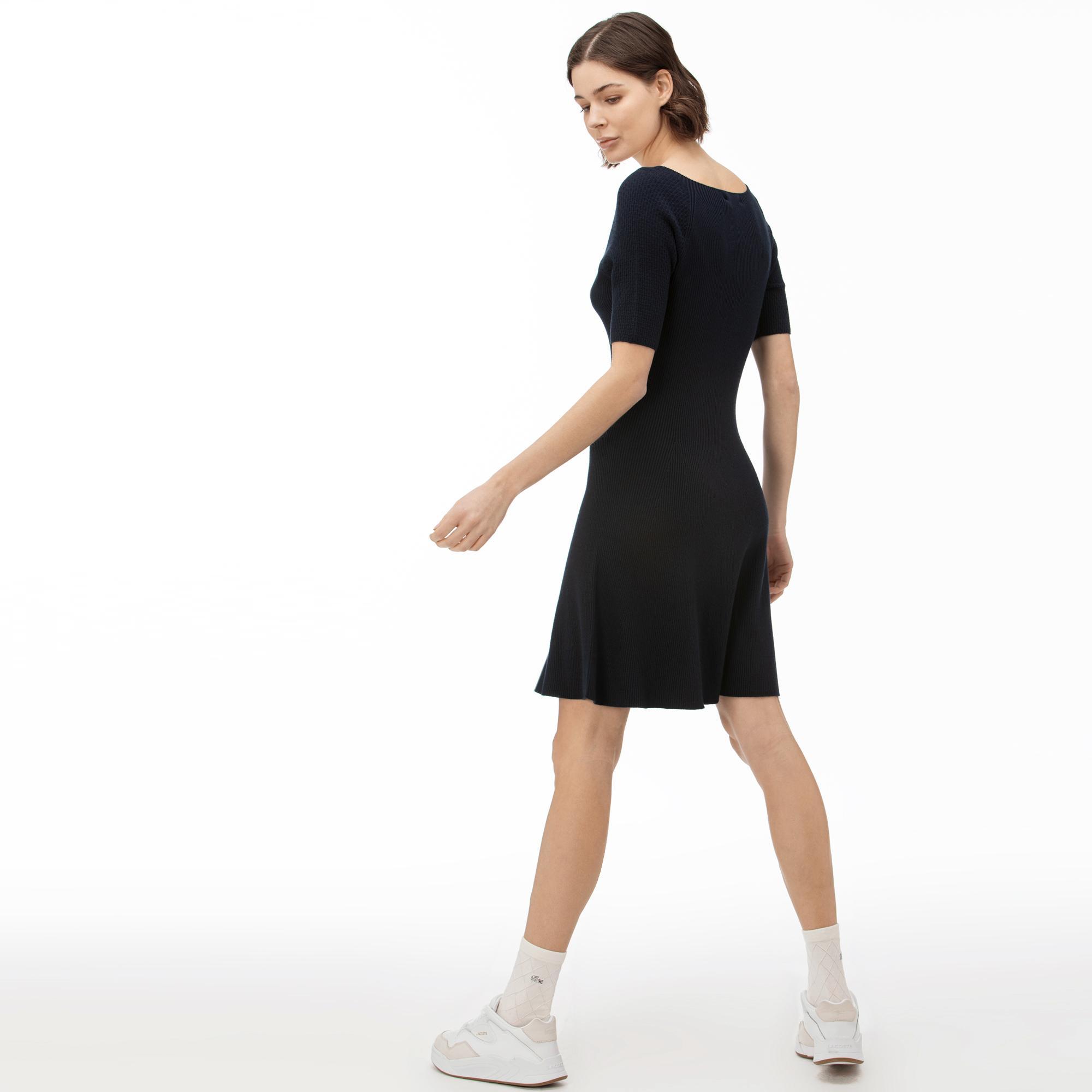 Lacoste Kadın Bisiklet Yaka Kısa Kollu Lacivert Elbise