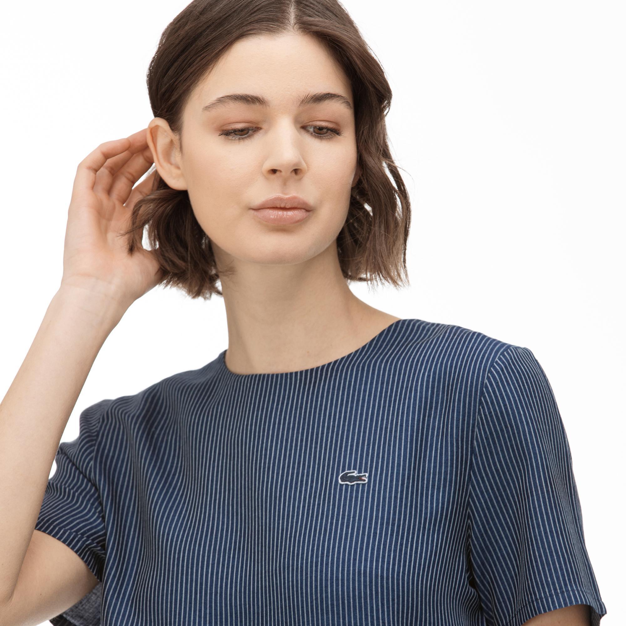 Lacoste Kadın Lacivert Çizgili Kısa Kollu Denim Elbise