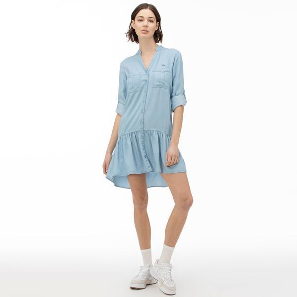 Lacoste Kadın Uzun Kollu Denim Mavi Elbise