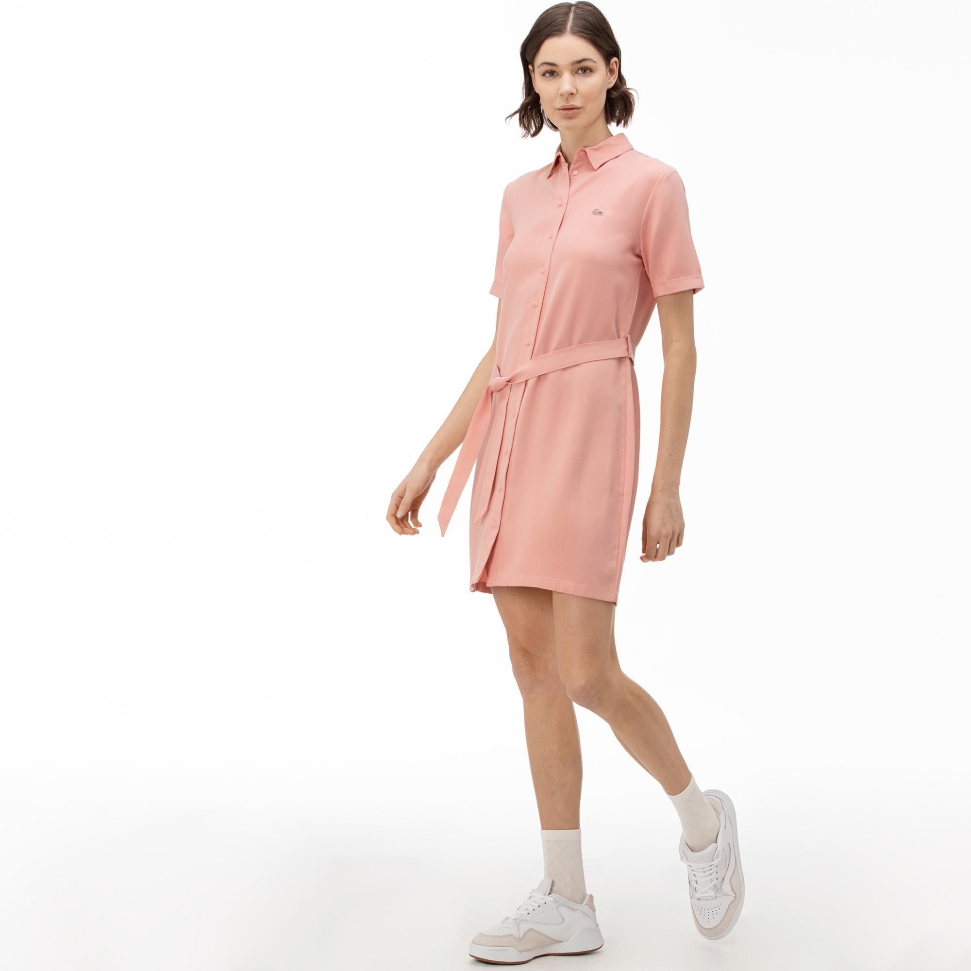 Lacoste Kadın Pembe Gömlek Elbise