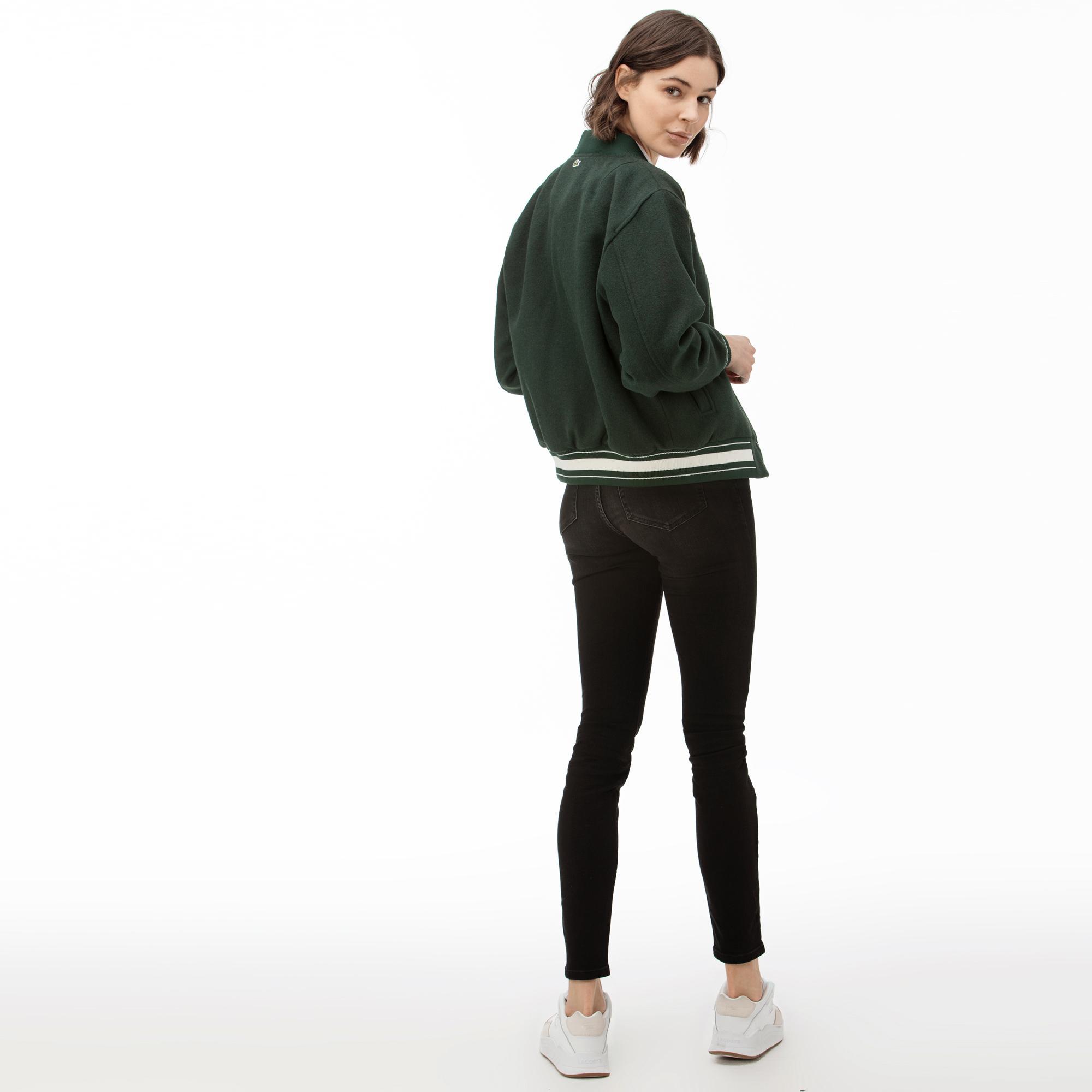 Lacoste L!VE Kadın Yünlü Gül Nakışlı Yeşil Ceket