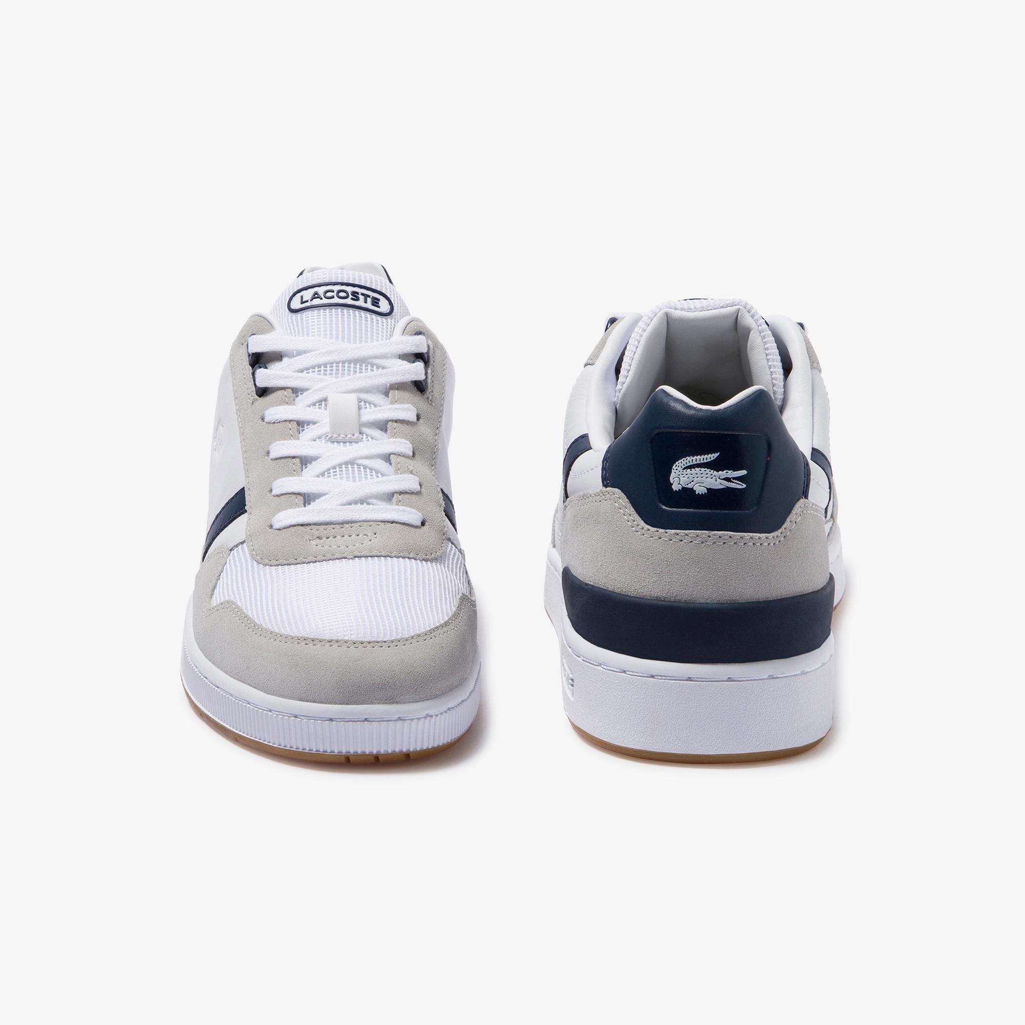 Lacoste T-Clip 120 2 Us Sma Erkek Beyaz - Lacivert Deri Sneaker