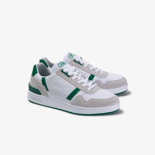 Lacoste T-Clip 120 3 Us Sma Erkek Beyaz - Yeşil Deri Sneaker