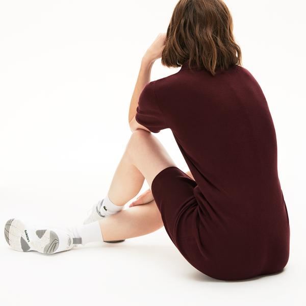Lacoste Kadın Bordo Polo Yaka Kısa Kollu Elbise