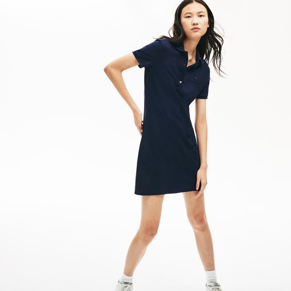 Lacoste Kadın Lacivert Polo Yaka Elbise