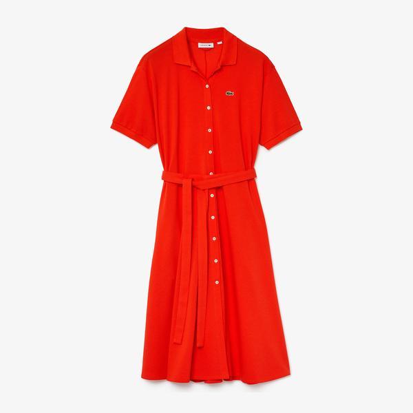 Lacoste Kadın Polo Yaka Kısa Kollu Kırmızı Elbise