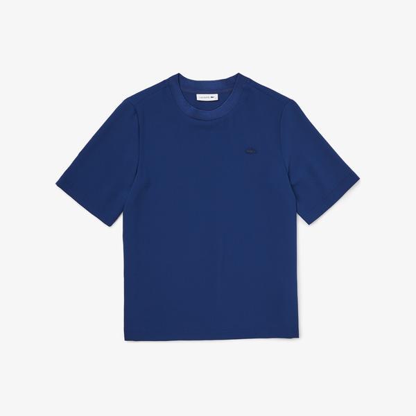 Lacoste Kadın Bisiklet Yaka Kısa Kollu Saks Mavi Gömlek