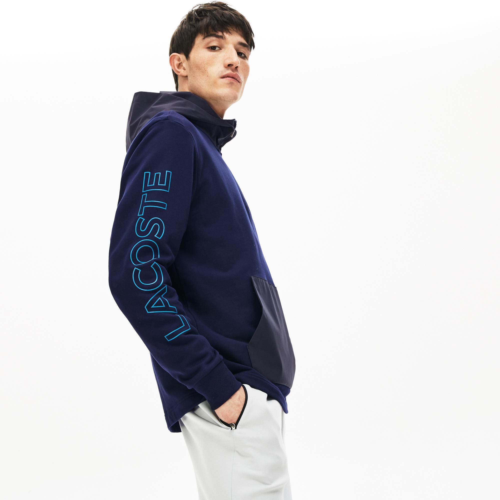 Lacoste Motion Erkek Lacivert Çıkarılabilir Kapüşonlu Sweatshirt
