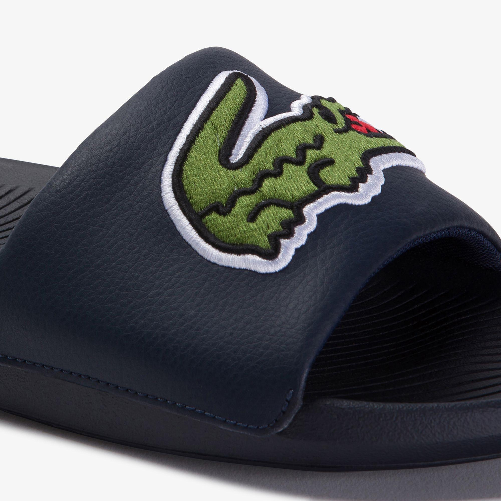 Lacoste Croco Slide 120 US CMA Erkek Timsah Baskılı Lacivert Terlik